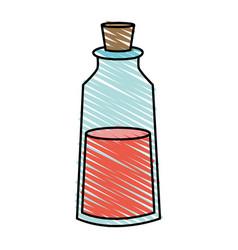 color crayon stripe cartoon small glass bottle vector image