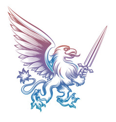 Colorful heraldy griffon with sword vector