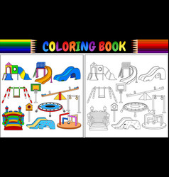 coloring book with playground equipment icons set vector image
