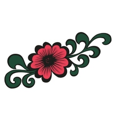 Doodling colorful flower in tattoo style vector image