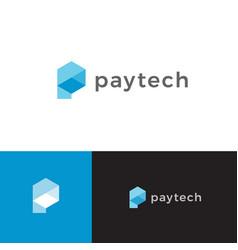 Electronic payment symbol blue hexagon shape vector