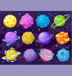 fantasy cartoon planets multicolor cosmic planet vector image