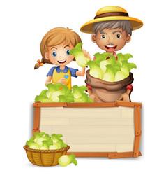 Farmer with lettuce on wooden board vector