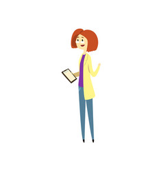 female doctor holding clipboard cartoon vector image