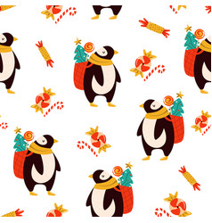 festive seamless pattern with cute penguins vector image