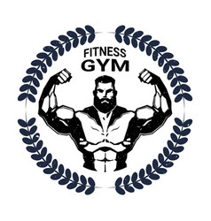 fitness gym emblem with strong athletic man vector image