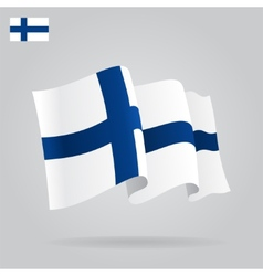 Flat and waving Finnish Flag vector image