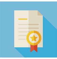 Flat Award Diploma with long Shadow vector image