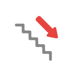 flat design style concept of stairs with arrow vector image