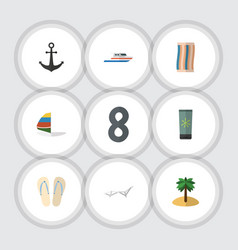 flat icon summer set of beach sandals wiper vector image
