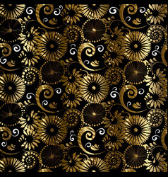 Floral abstract gold seamless pattern vintage vector