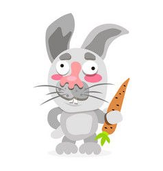funny and cute rabbit holding carrot vector image