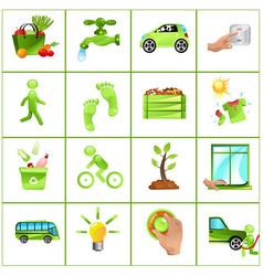 Go green concept icons vector