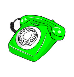 green retro telephone sketch doodle vector image