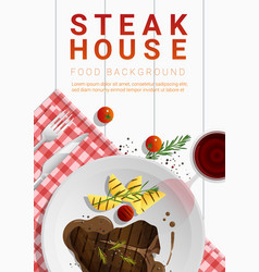 Grilled beef t-bone steak on table background vector