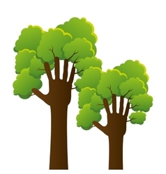 hands human tree plant ecology icon vector image