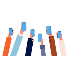 hands with phones many people holding smartphones vector image