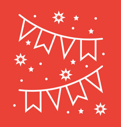 holiday flags garlands line icon new year vector image