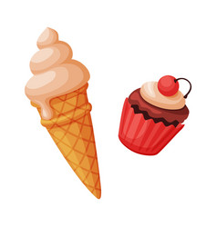ice cream and cupcake sweet delicious desserts vector image