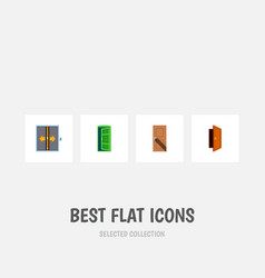 icon flat approach set of elevator approach exit vector image