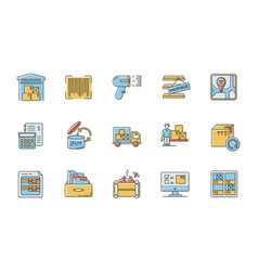 Inventory tracking rgb color icons set vector