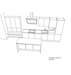 Kitchen furniture sketch vector image
