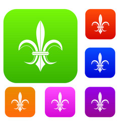 Lily heraldic emblem set collection vector