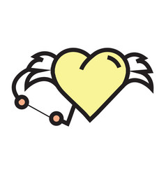 love hearts wings pen tool design yellow vector image