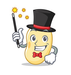 Magician soy bean mascot cartoon vector
