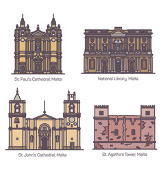 maltese famous landmarks or malta architecture set vector image