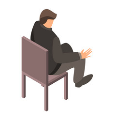 man at office chair icon isometric style vector image