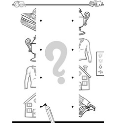 Match objects halves coloring page vector