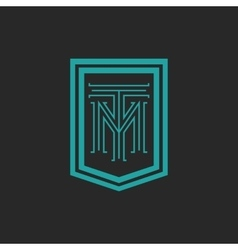 Monogram hipster frame form shield crest blue and vector