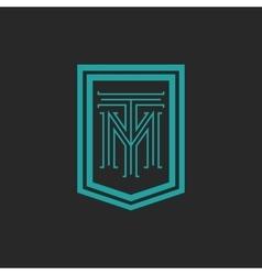 Monogram hipster frame form shield crest blue and vector
