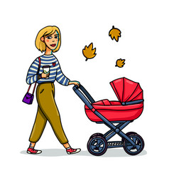 mother with baby in stroller young stylish woman vector image