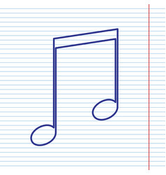 music sign navy line icon on vector image