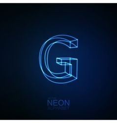Neon 3D letter G vector image