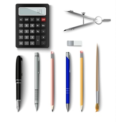 Office writing implements and drawing template vector