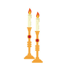 pair of golden candlesticks vector image