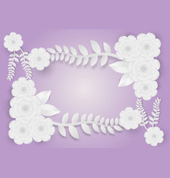 paper art style of flowers with vines on a purple vector image