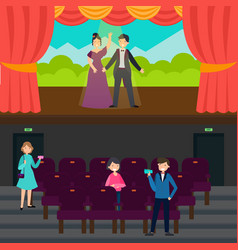 People in theatre horizontal banners vector