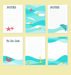 planner template with cute marine animals vector image
