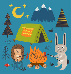 Poster hare and hedgehog near bonfire in camp vector