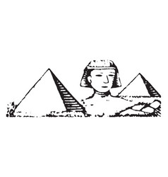 Pyramids and sphinx of giza limestone statue vector