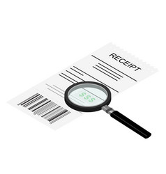 Receipt icon with magnifying glass studying vector