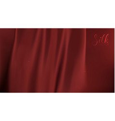 Ribbon background red silk on black background vector