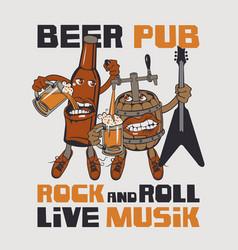rock-n-roll pub banner with beer bottle and barrel vector image