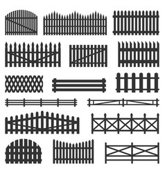 Rural fences wooden set vector