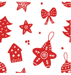 scandinavian christmas hand drawn seamless pattern vector image