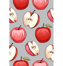 seamless texture of cartoon red apples of vector image